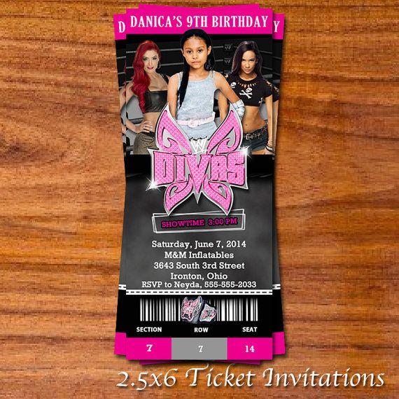 WWE Divas Ticket Invitation by RedVelvetParties on Etsy – Diva Party Invitations
