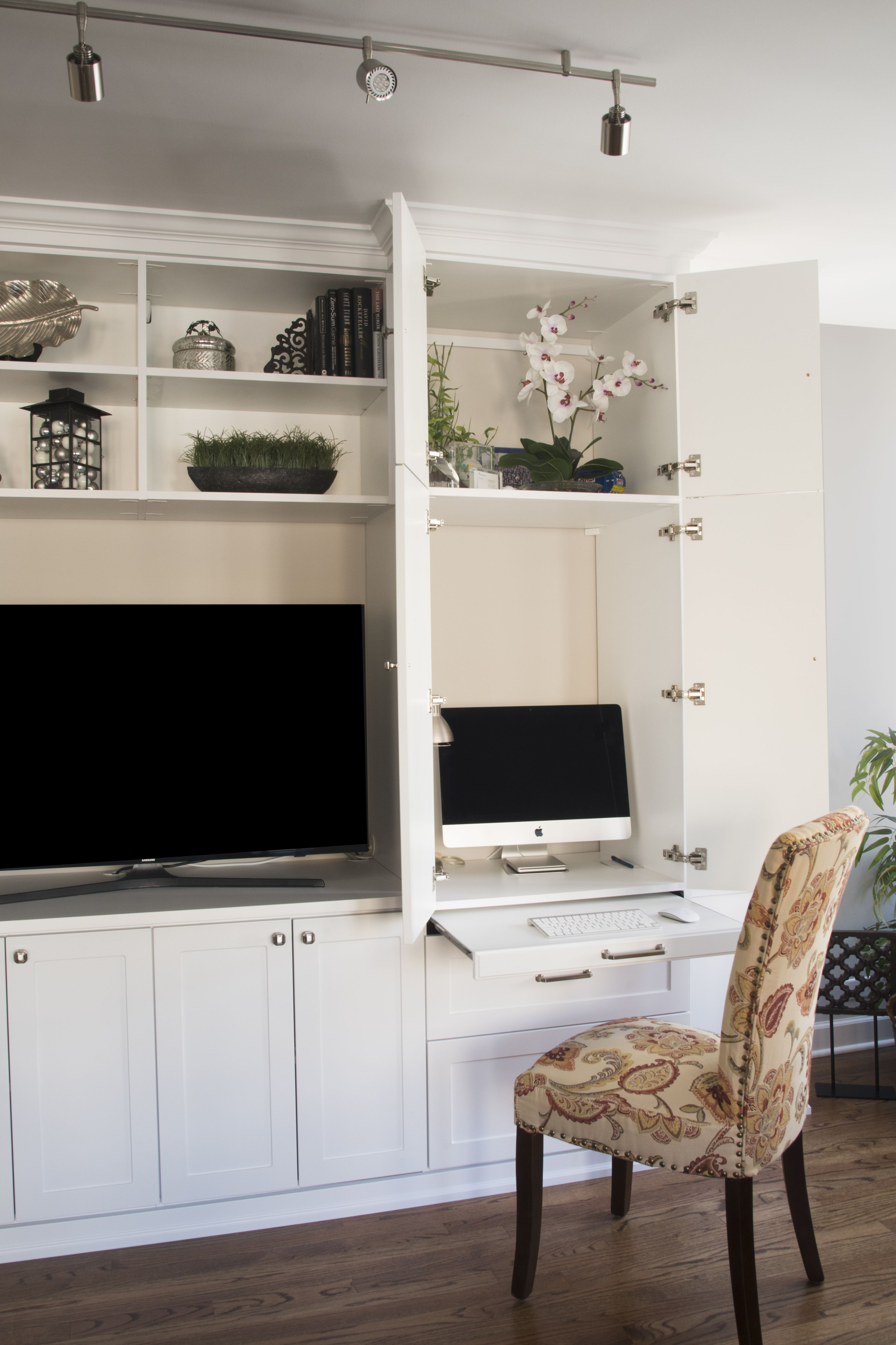 Work Right From Your Living Room With A Custom Pull Out Shelf And
