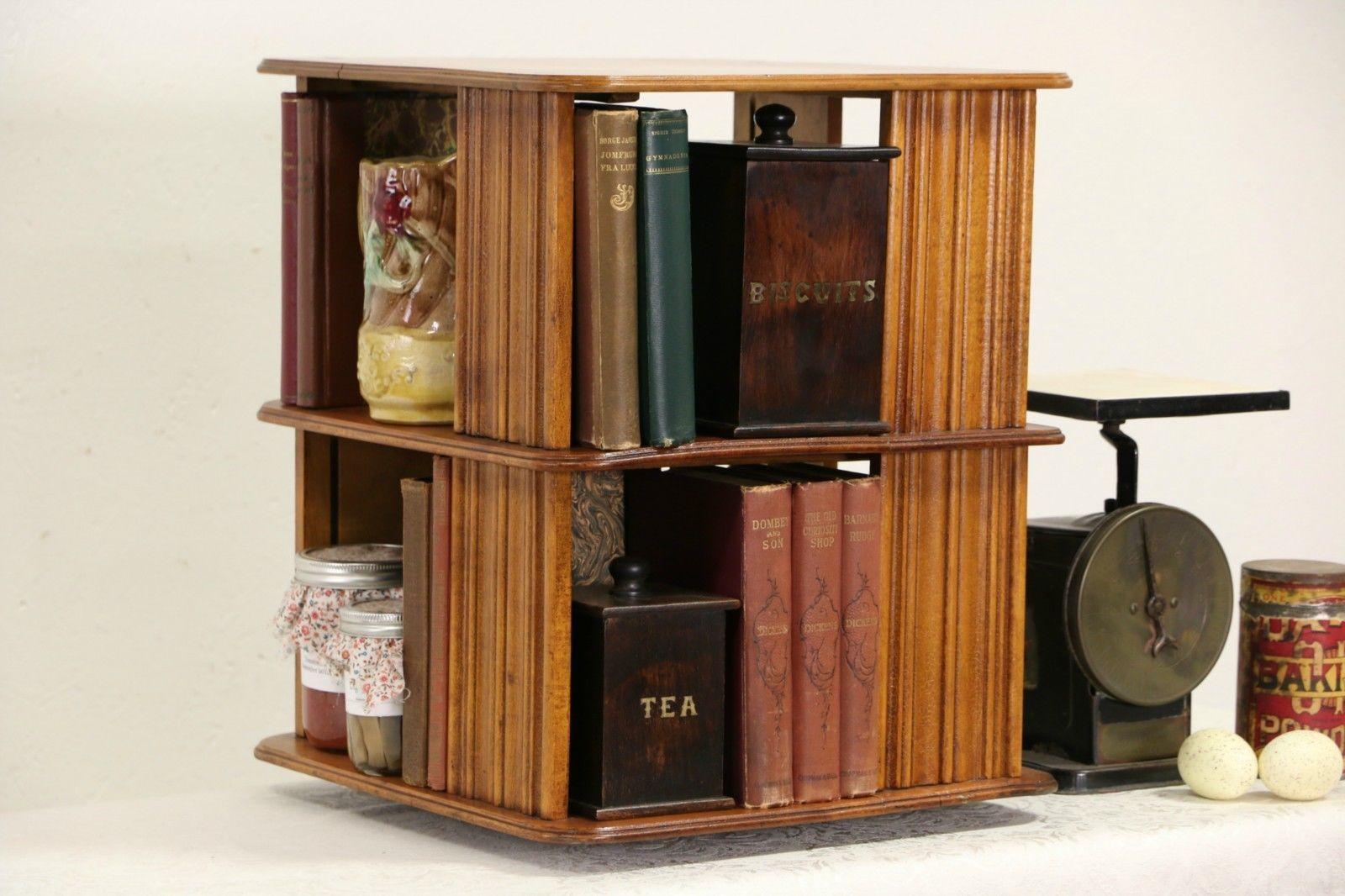 Spinning Bookcase, 1890u0027s Antique Chairside Or Tabletop Revolving Bookshelf
