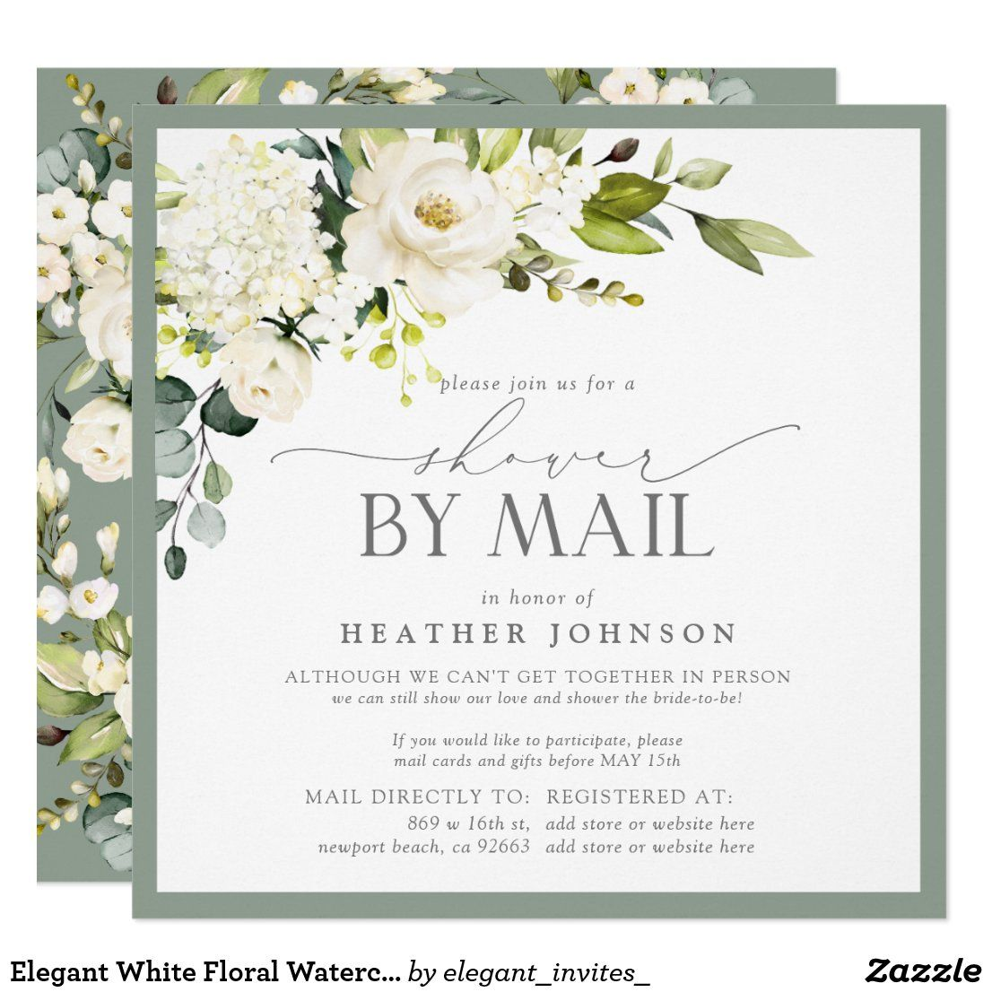 Elegant White Floral Watercolor Bridal Shower Mail
