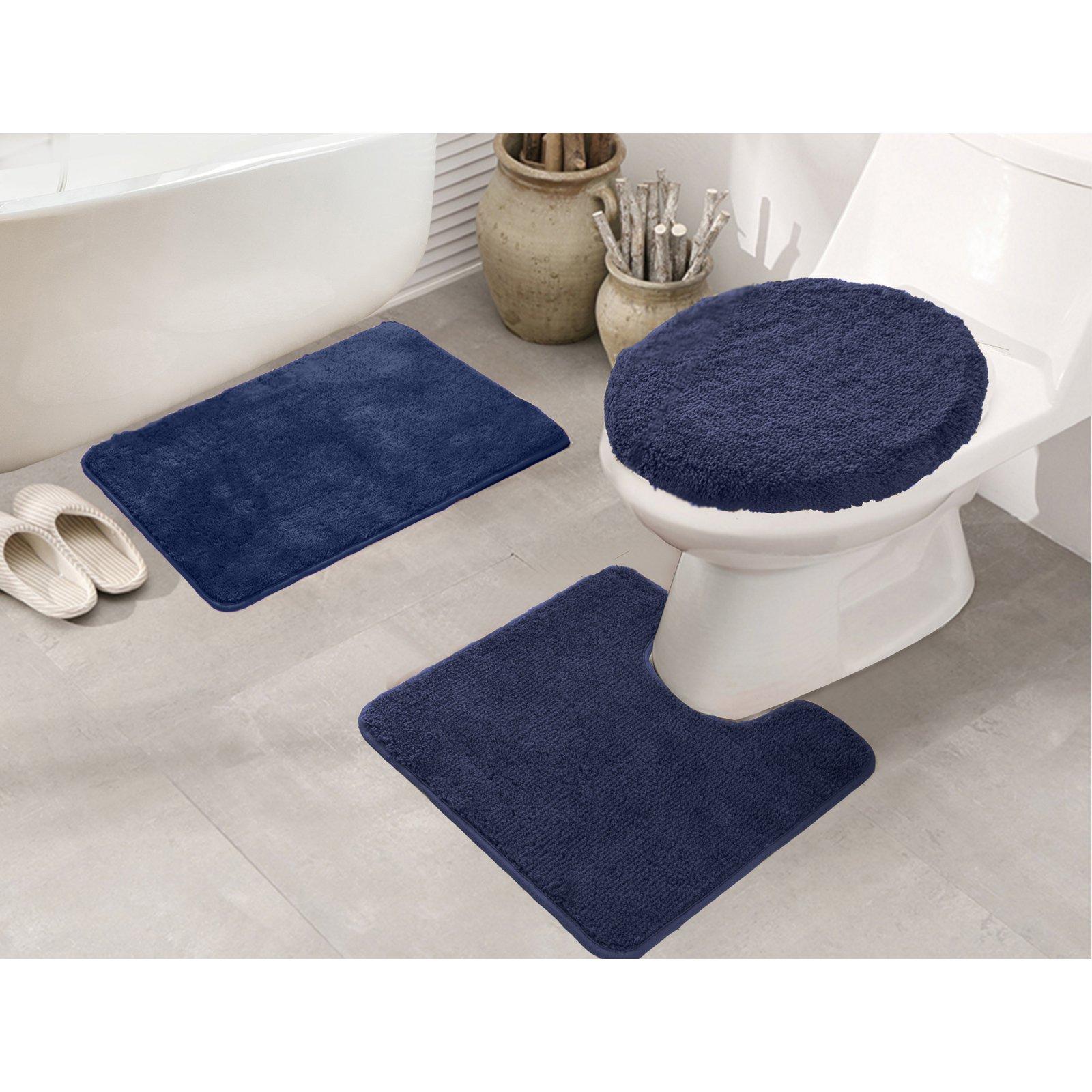 Rt Designers Collection Royalty 3 Piece Bath Rug Set Navy Blue
