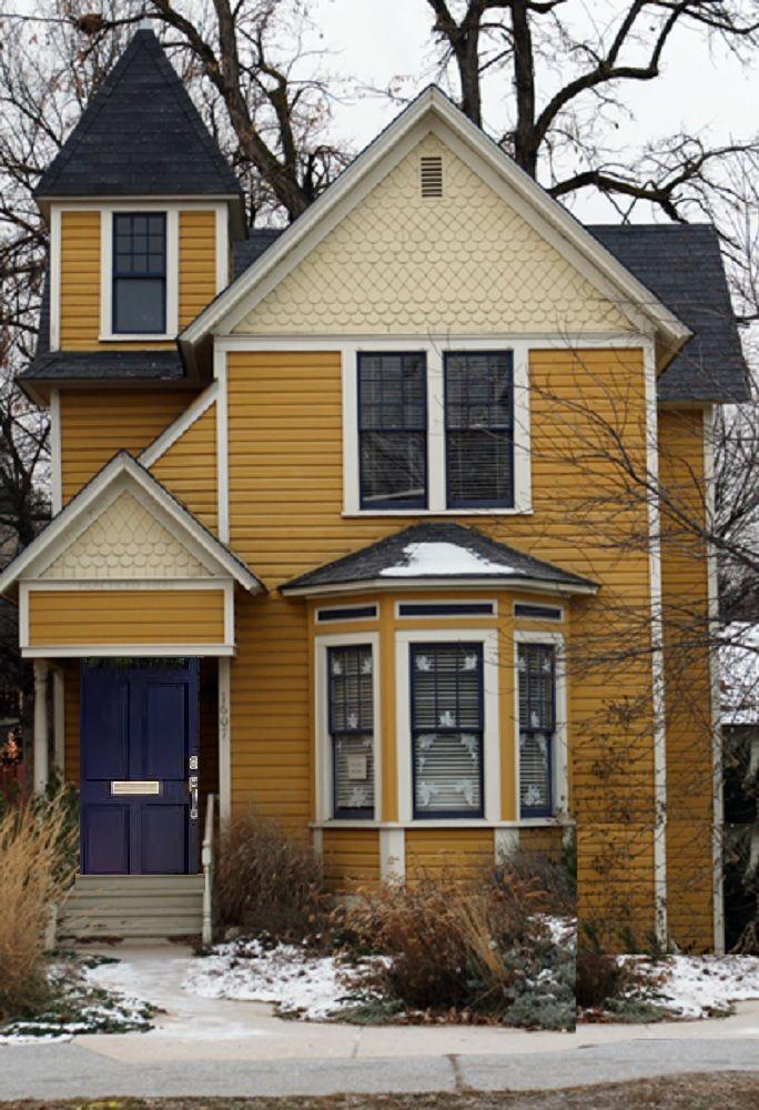 Gold White Navy Blue Exterior Color Schemes Paint Colors For House