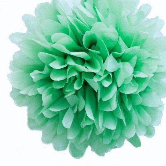 MINT GreenTissue Paper Pom Pom, Various sizes | Wedding, Birthday, Bridal Shower, Home Decor, Nurser
