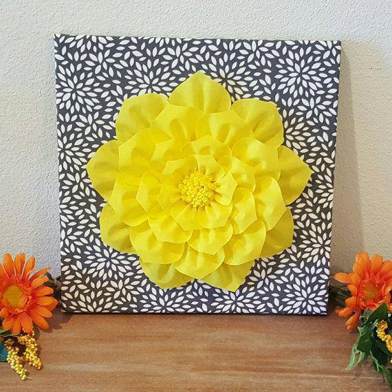 Yellow Wall Art, Fabric Flower, 12x12 Canvas, Custom Made, Babys ...