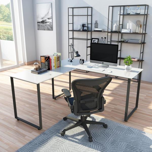 Merax White L Shaped Workstation Laptop Table Corner Desk Mf189576aak Home Office Computer Desk Laptop Table Corner Desk