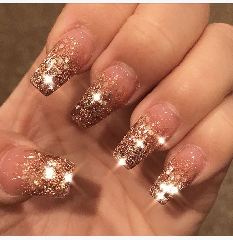 Rose Gold Ombré Glitter Bling Nails , Acrylic Coffin ombre Rose gold ...