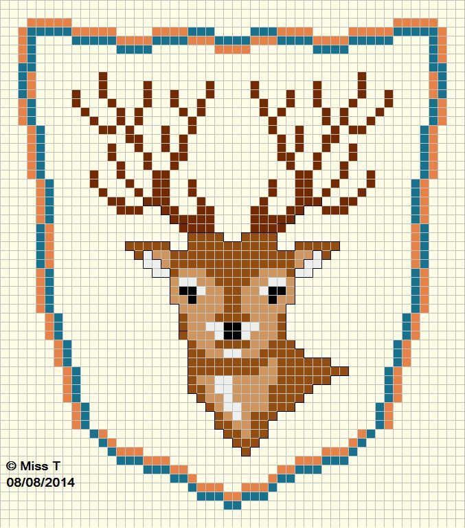 Nice tiled pattern for cross-stitching alone or on Tunisian Crochet ...