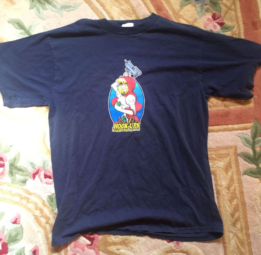Rare Vintage Anime Hook Ups T Shirt X Large Red Riding Bonnie Hood Darkstalkers Hookups Graphictee Mens Tshirts Mens Shirts Shirts
