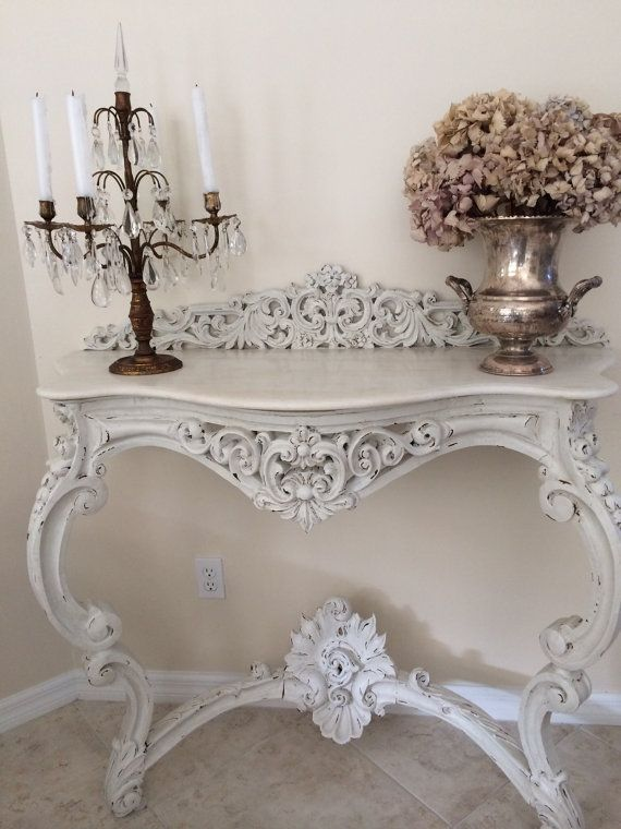 French Antique Console Entry Table Marble Top Hand Carved