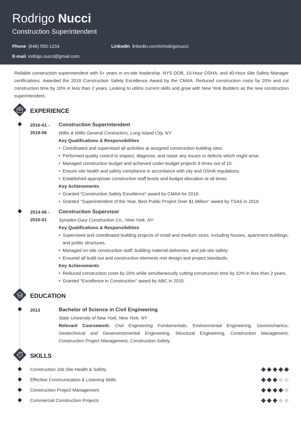 Construction Superintendent Resume Example Template Diamond Resume Examples Teacher Resume Job Resume Examples
