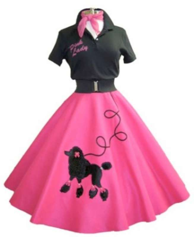 Vintage ClassicPink Poodle Skirt And Black Shirt With White Saddle