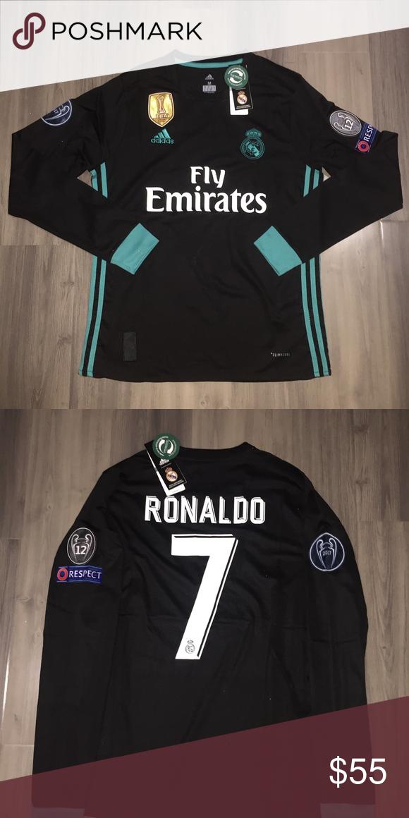 b9856393a2a Cristiano Ronaldo Champions League Jersey 17 18 Brand New Ronaldo Long  Sleeve 3rd Black 17