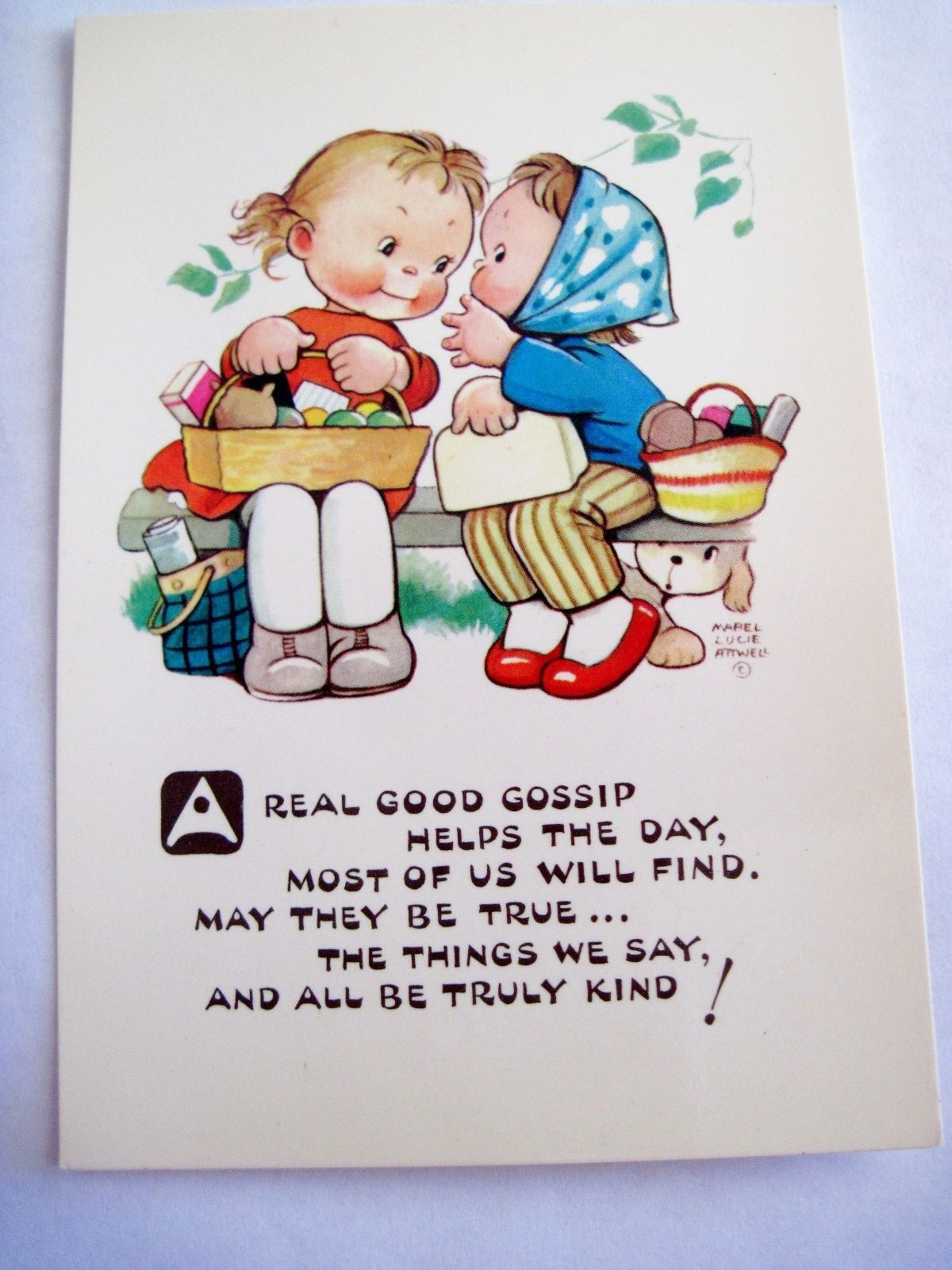 Precious Mabel Lucie Attwell Postcard w Two Friends Gossiping Artist Signed | eBay   Areal good gossip helps the day, most of us will find.May they                  lb xxx.