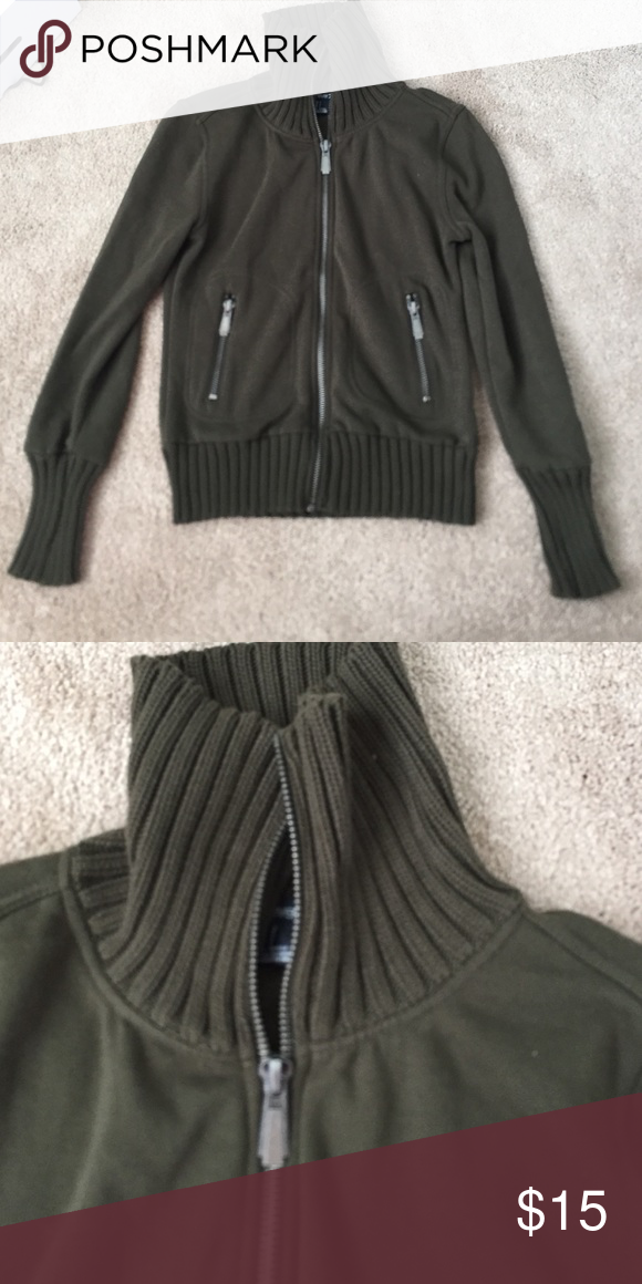 forest green zip up forest green zip up with sweater material around neck hem and sleeves , suuuper cute for fall!!! fitted size small Jackets & Coats