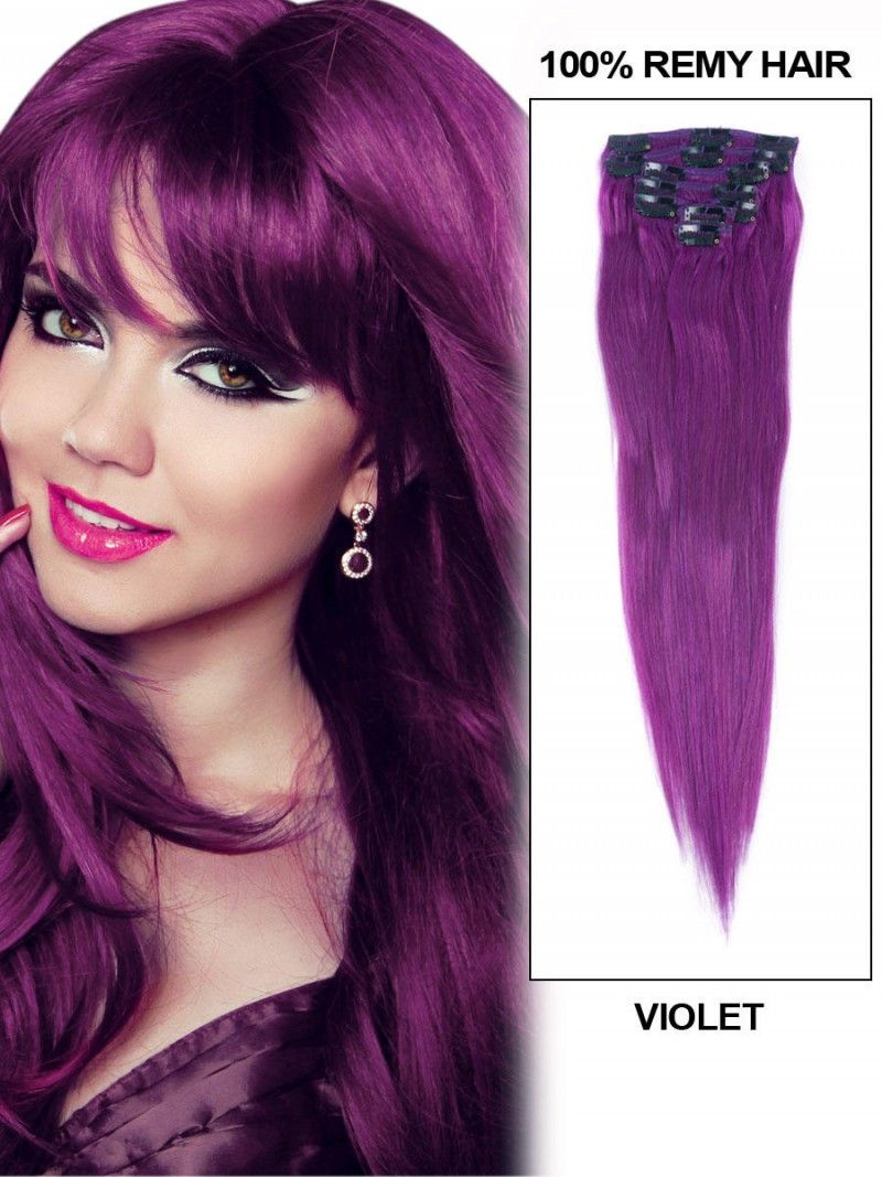 Voilet 20 9pcs Straight Clip In Remy Hair Extensions Clip In Hair