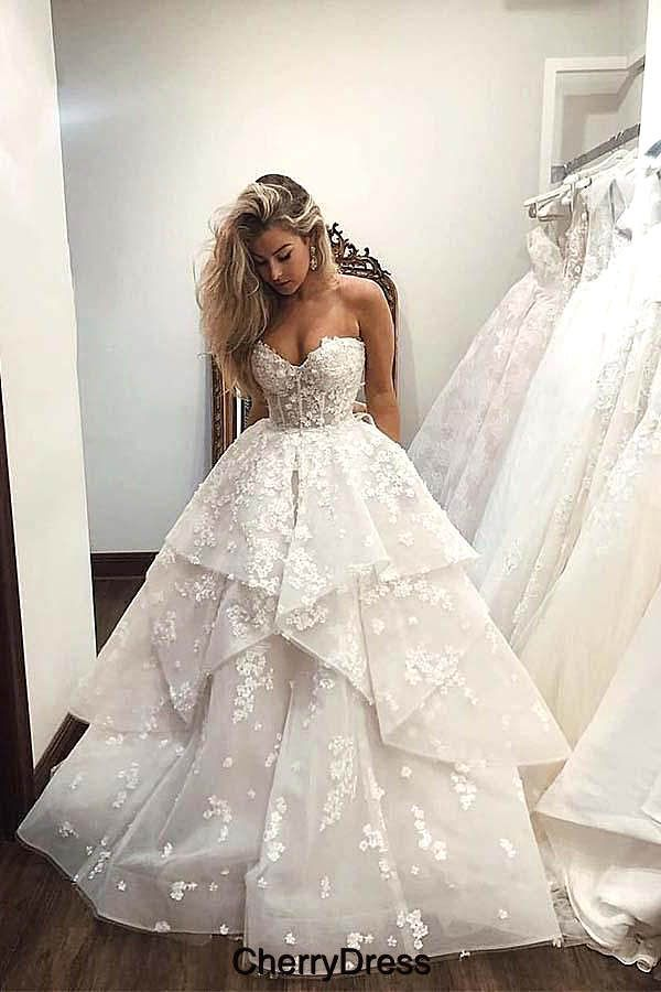 Ball Gown Sweetheart Strapless V Neck Ivory Tulle Wedding Dress with XHOPST11141