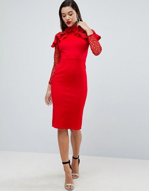Premium Midi Pencil Dress with Mesh and Frill Details - Red Asos Pay With Visa For Sale dgkCNFxlg