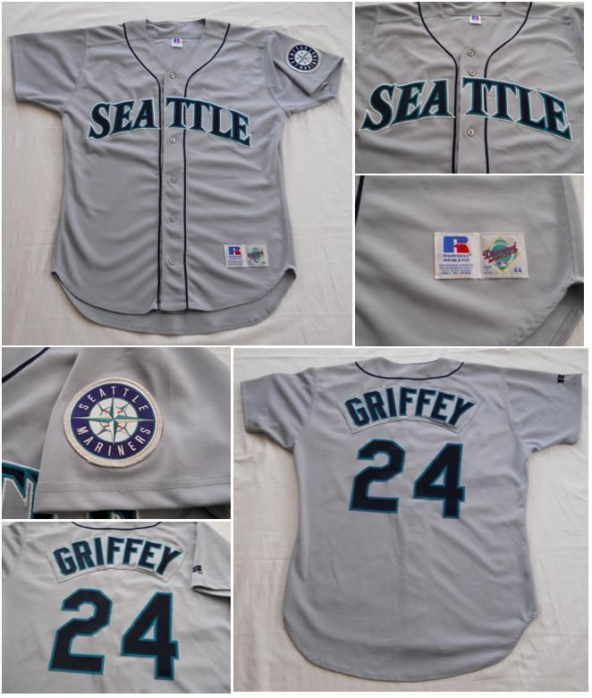 Vintage 1997 Seattle Mariners Road Gray Ken Griffey Jr. Jersey by Russell  Athletic 21c86f4f2