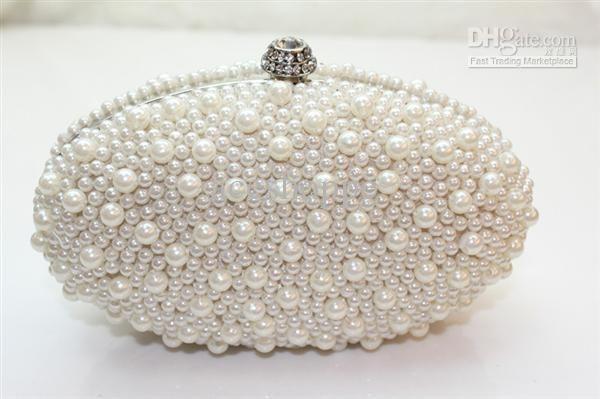 Egg Type Pearl Beaded Evening Bag Handbags Wedding Bridal Bag Style