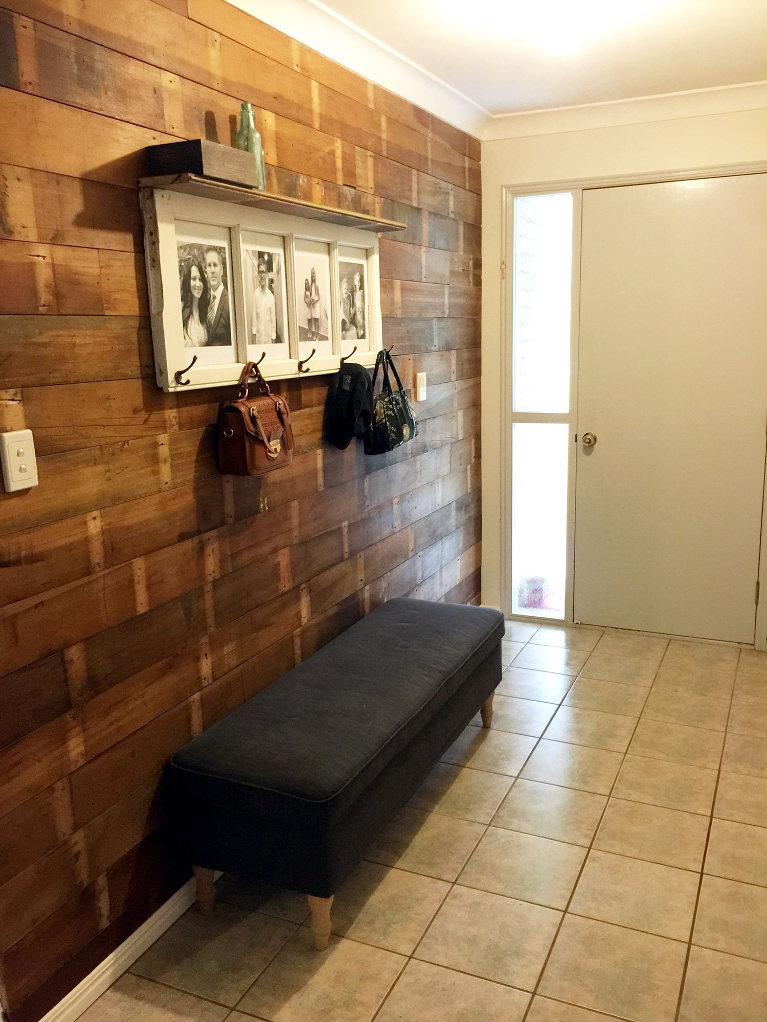 entryway recycled timber floorboards used on the wall and an old
