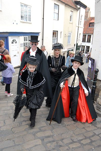 Goths: A goth family at a Goth Convention weekend at Whitby, North Yorkshire