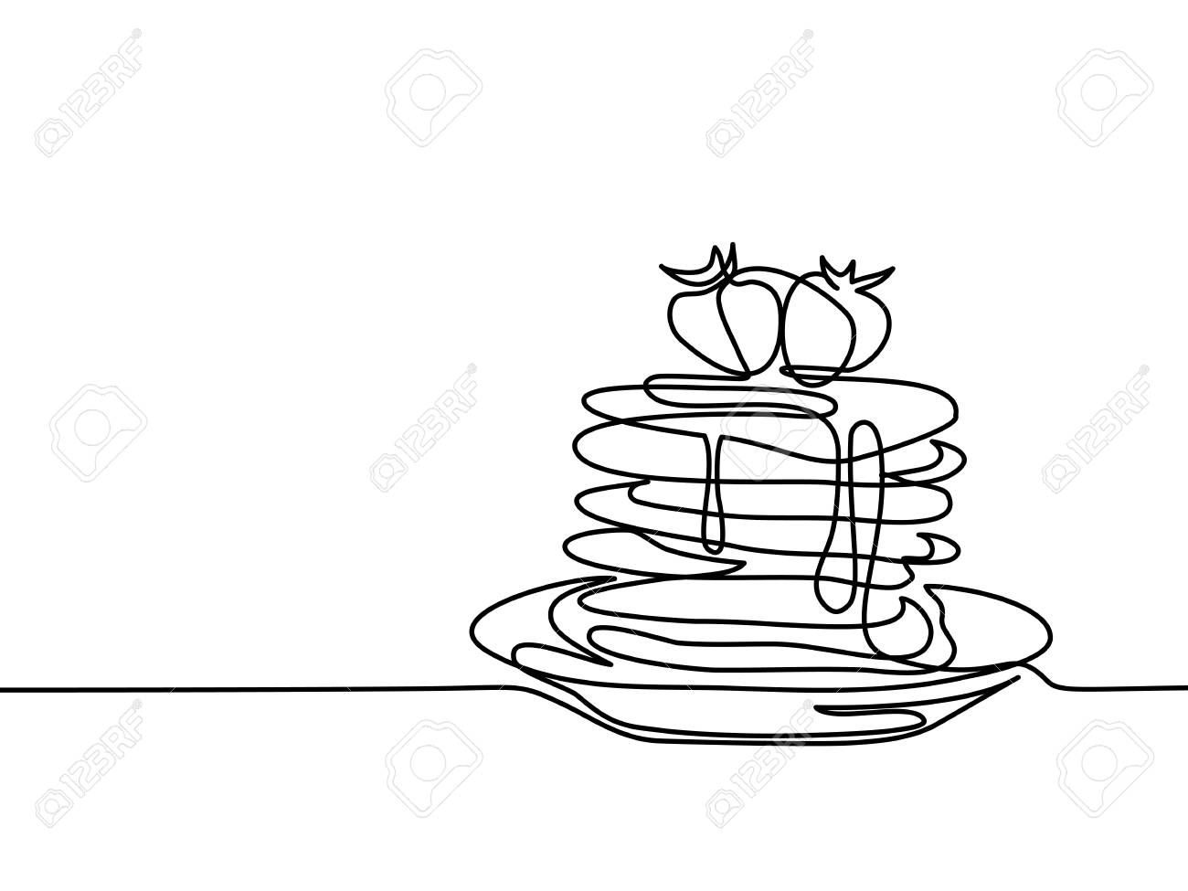 Continuous Line Drawing Pancakes With Strawberry Jam On Plate Vector Illustration Black Line On White Backgroun Continuous Line Drawing Line Drawing Drawings