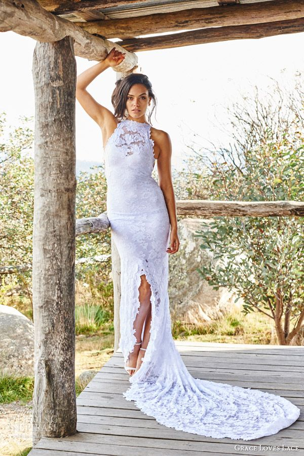 Grace Loves Lace Bridal 2017 Alexandra Sleeveless Halter Neck Wedding Dress Fishtail Train