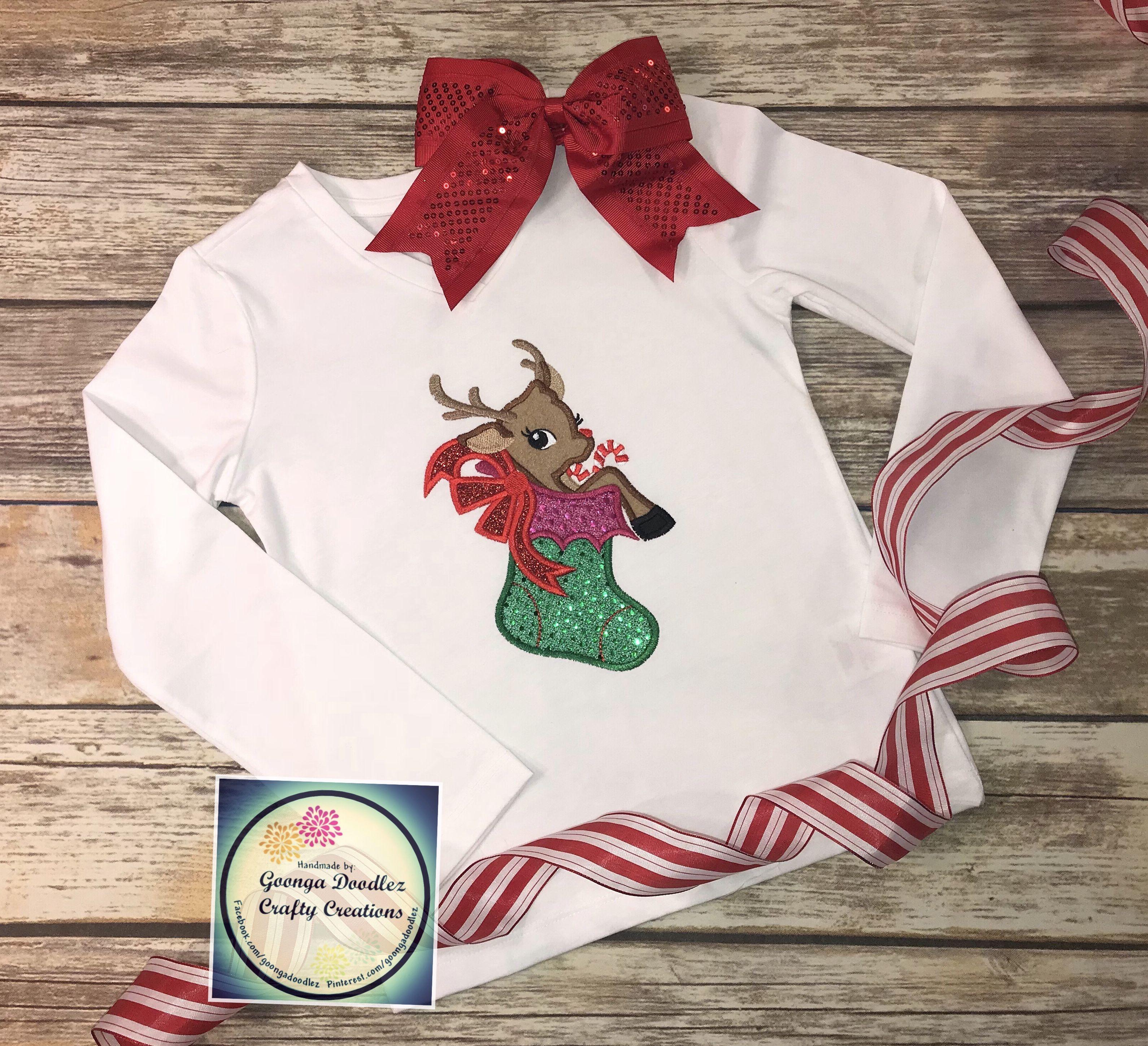 d74ca92a4 Deer in Stocking shirt - Embroidered Christmas shirt - Girl - Goonga ...
