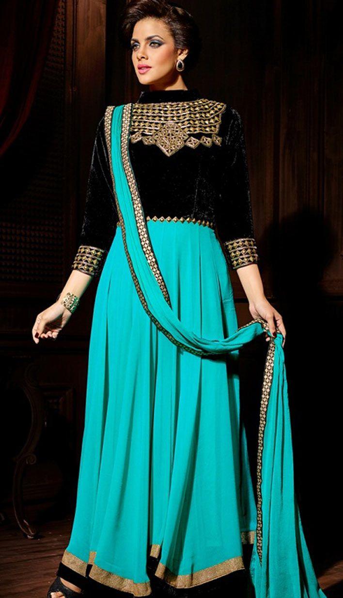 Indian Turquoise Velvet Georgette Anarkali Suit, Dress-KPW-55323 ...