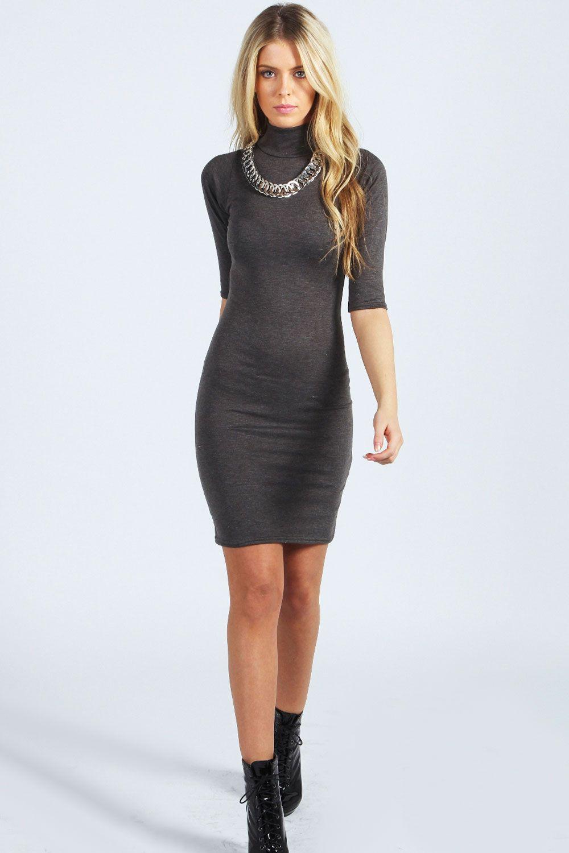 1facb31e3672d Nancy High Neck 3 4 Sleeve Bodycon Dress