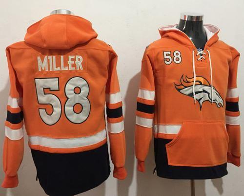 New Nike Broncos #58 Von Miller OrangeNavy Blue Name & Number Pullover