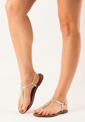 70eecd6cd6a198 Sam Edelman - Gigi Flat Sandal Gold Leather - Jildor Shoes
