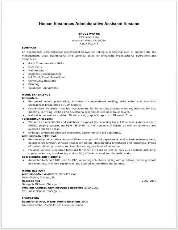 human resources resume examples  human resources resume