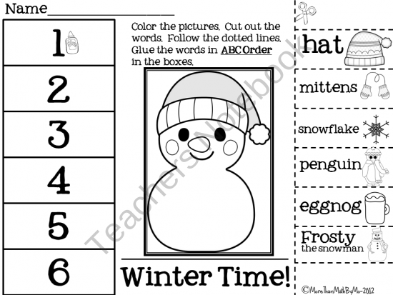 Winter ABC Order Cut and Paste FREEBIE product from More