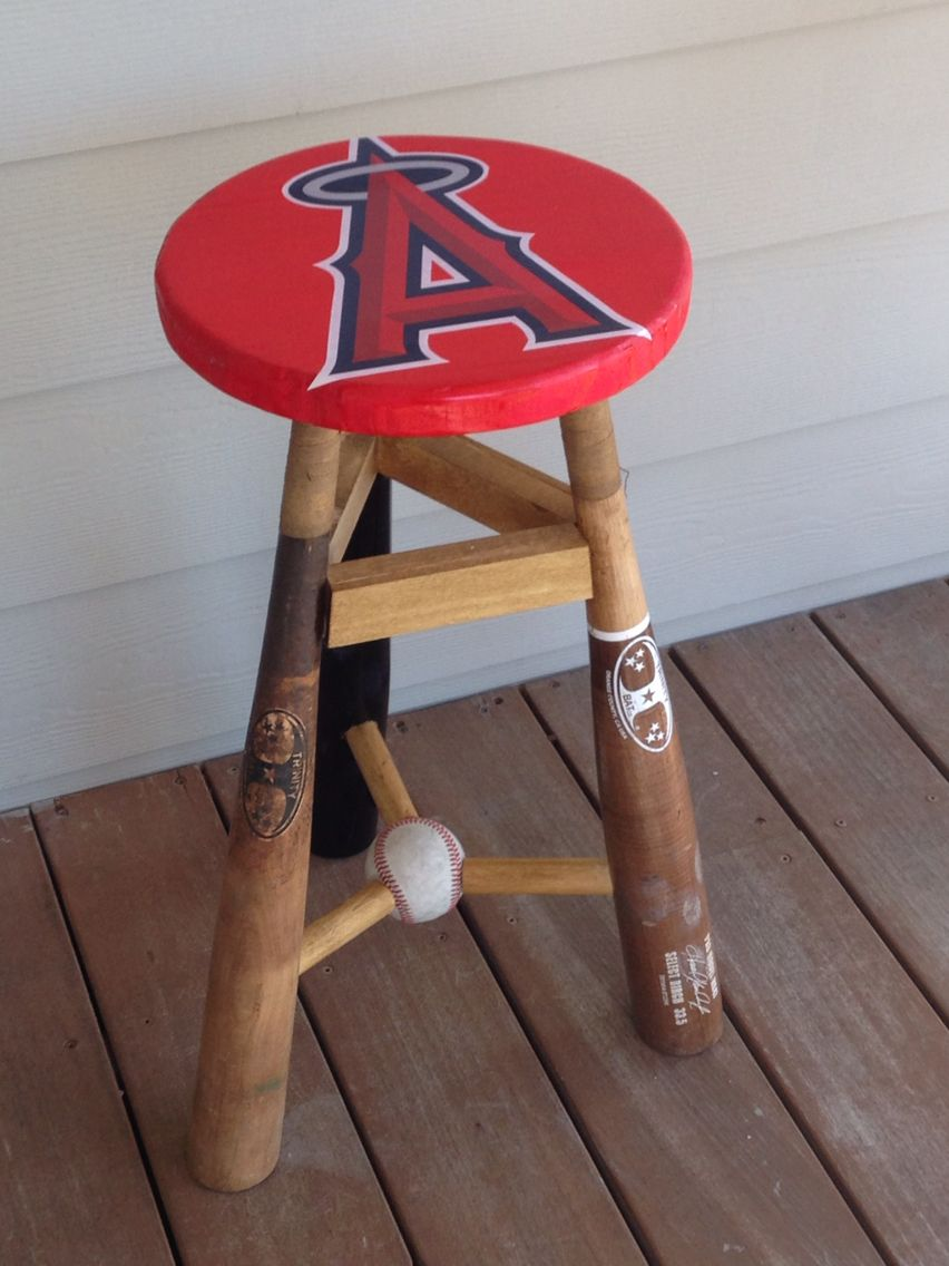 Three Legged Stool Angels Made From Broken Bats Was Bought As A Christmas Gift For A Big Angels Sports Themed Furniture Baseball Furniture Sports Decorations