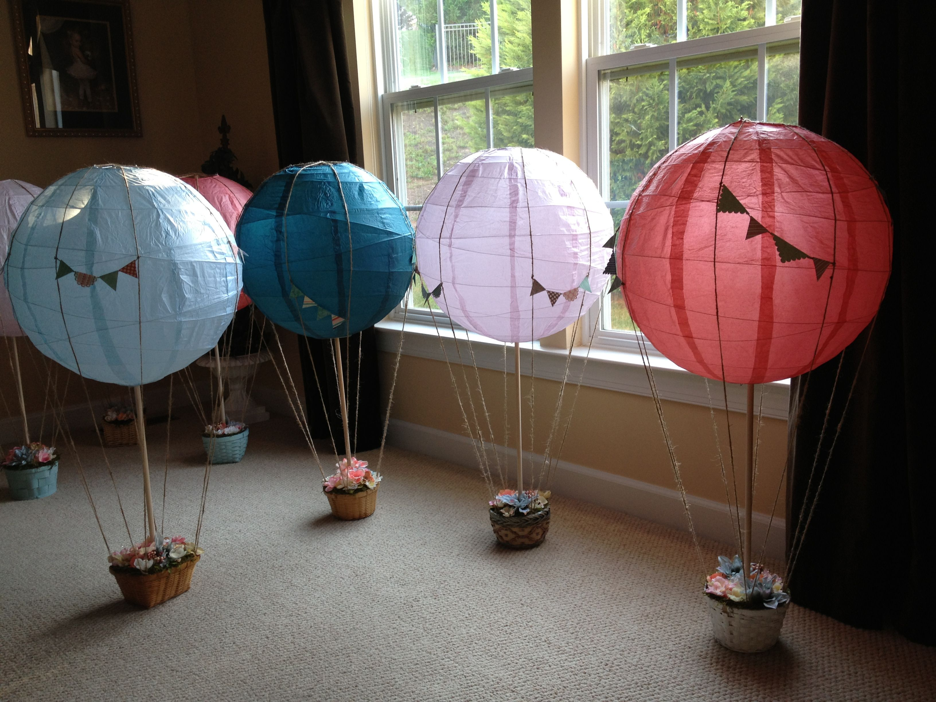 Handmade hot air balloon centerpieces for sale our for Air filled balloon decoration ideas