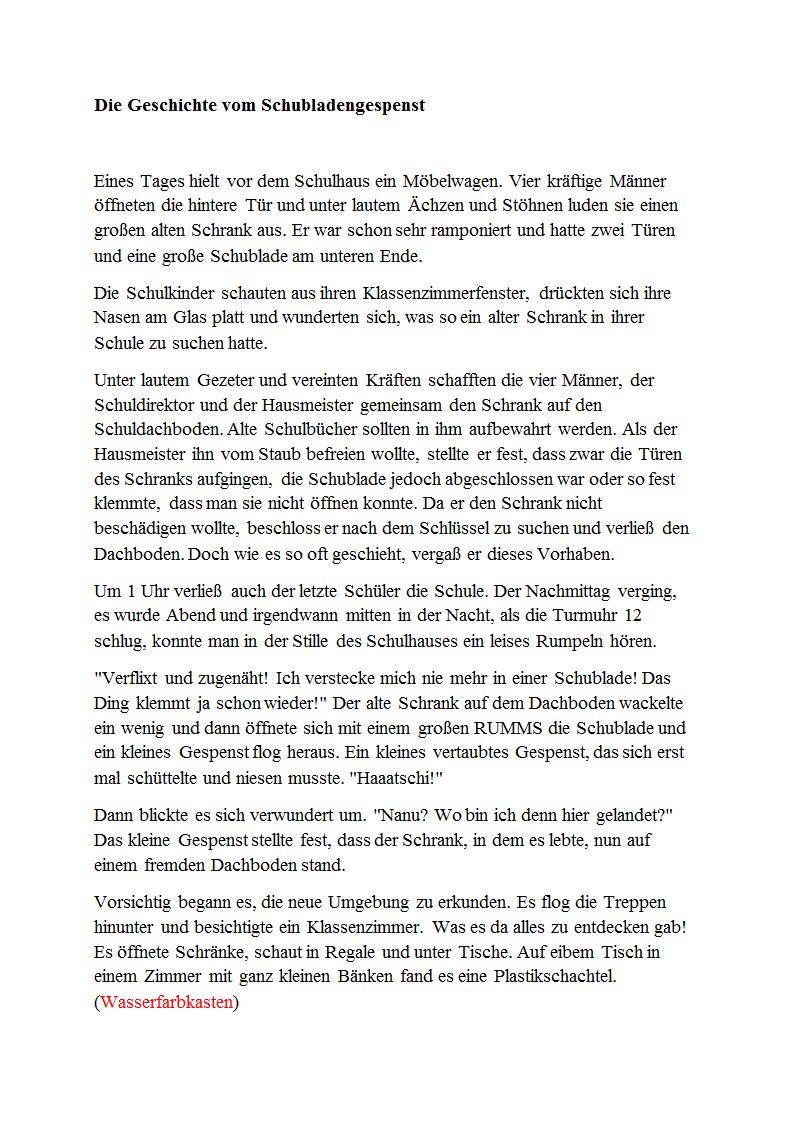 Die Geschichte Vom Schubladengespenst Docx Kunst