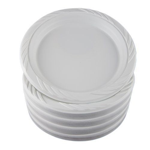 White 6 Plastic Plates 100 Count Free Shipping New White Plastic Plates Plastic Party Plates Plastic Plates