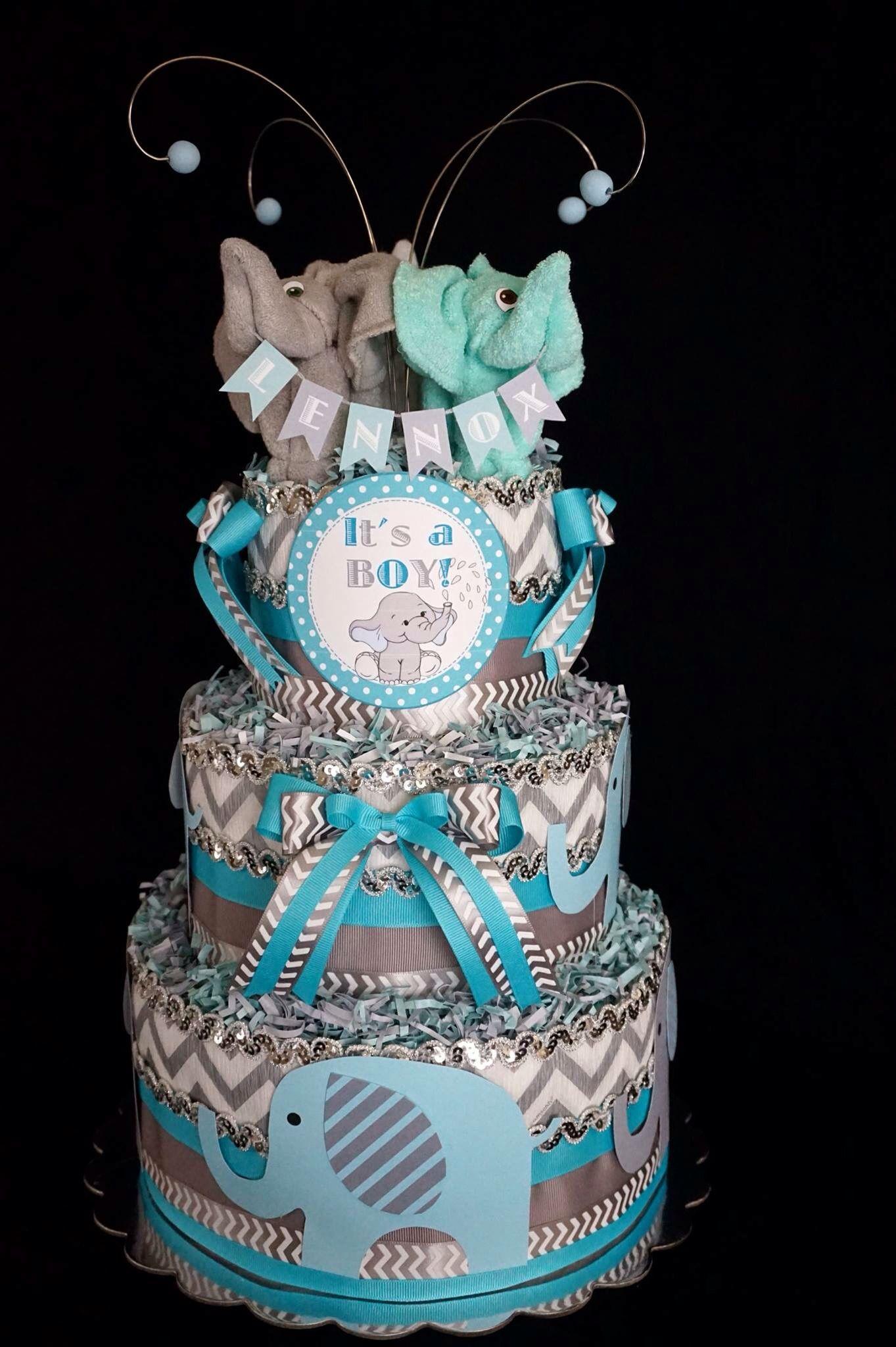 Boys Elephant Themed Diaper Cake wwwfacebookcom