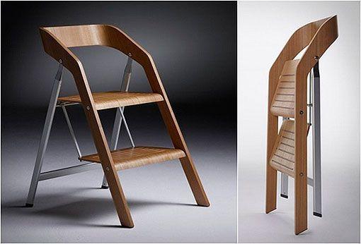 2 en 1 modo silla plegable los mil y un usos en muebles for Banqueta escalera plegable