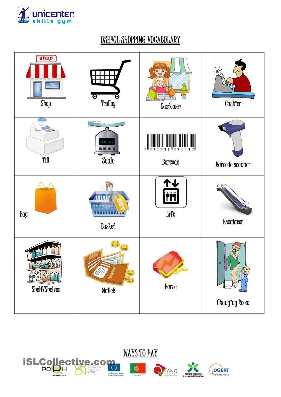 shopping vocabulary vocabulary vocabulary vocabulary worksheets shopping. Black Bedroom Furniture Sets. Home Design Ideas