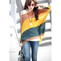 $7.78 Bohemian Colorful Broad Stripe Print Loose Fit Batwing Sleeve Spring Blouse For Women
