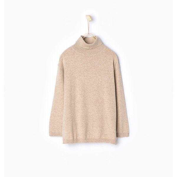 Zara Turtle Neck Sweater (18 CAD) via Polyvore featuring light sand ... 9e509ddb8e8