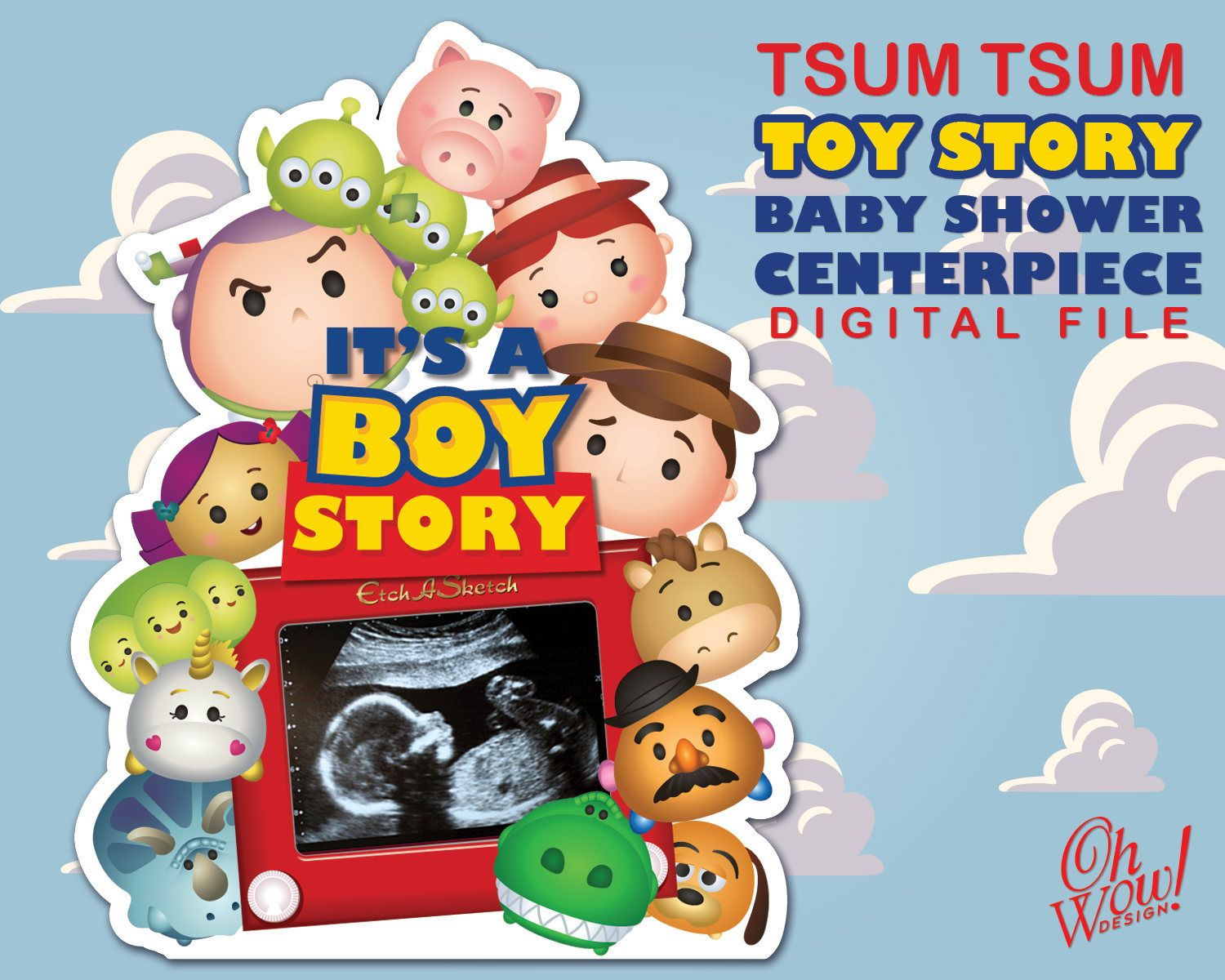 Tsum Tsum Toy Story Theme Baby Shower Table Digital Centerpieces By