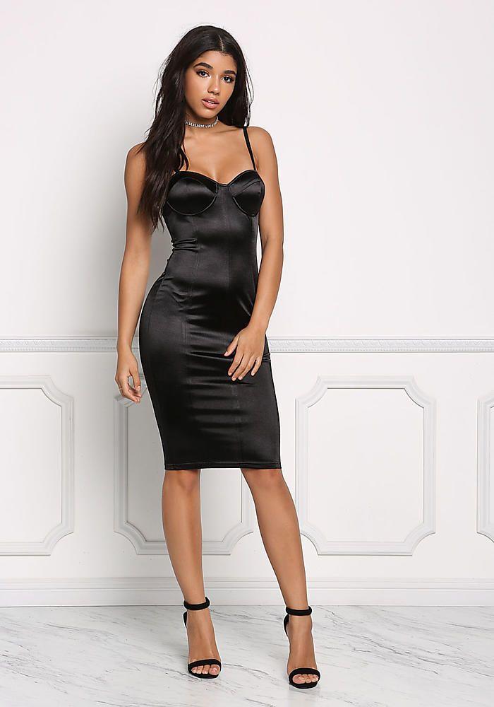 f2bc560fb41 Black Satin Bustier Bodycon Dress - Bodycon - Dresses