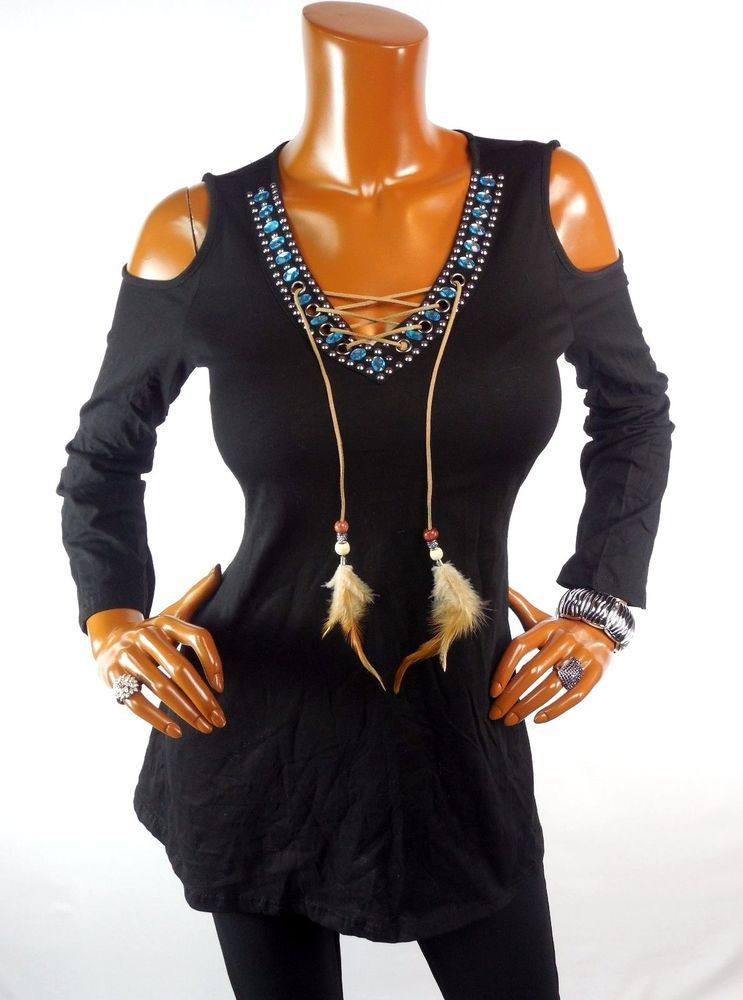 32ccb6cd40e6f9 NEW Womens Top L Black Tunic Blouse Casual Shirt Cold Shoulder Feather Tie  Gems #Unbranded #Blouse #Casual