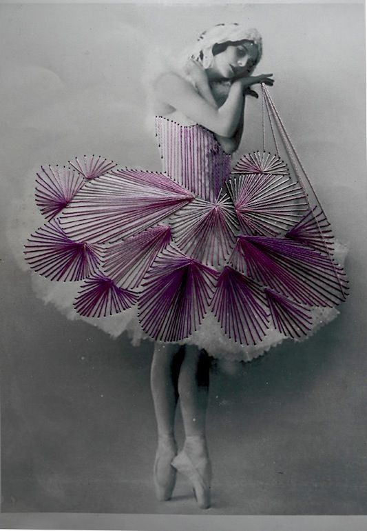 Vintage photos of graceful ballerinas + colorful bursts of thread stitching = the  work of Berlin-based Chilean mixed media artist Jose Romussi