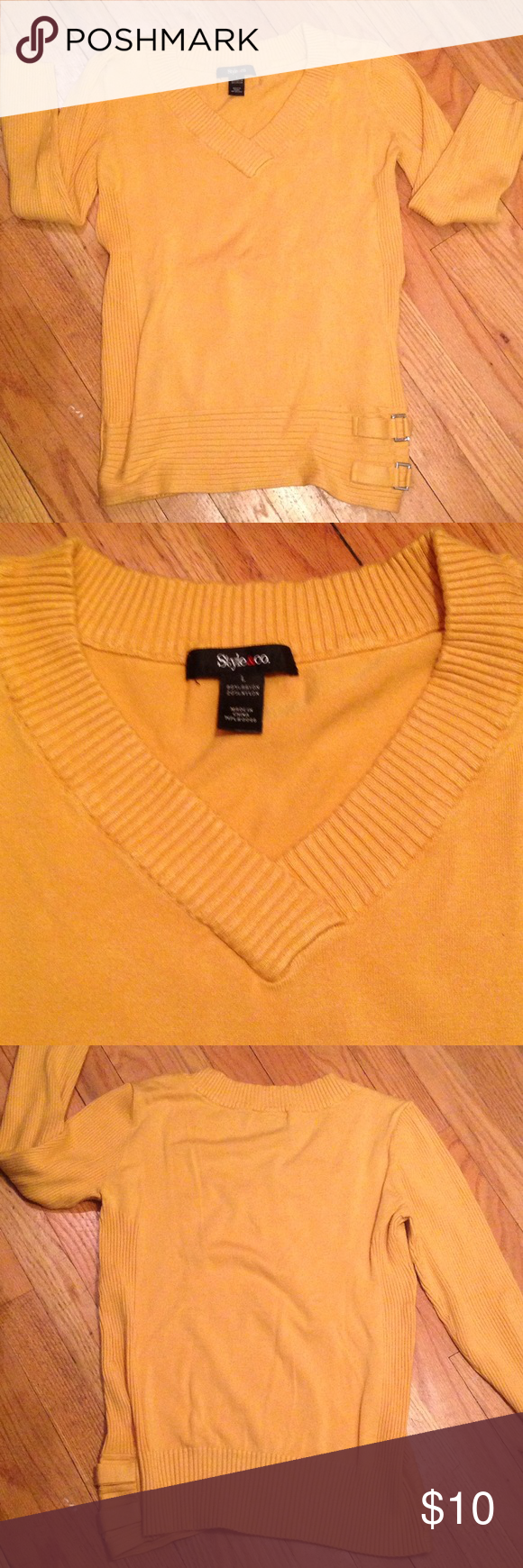 Style & Co Sweater   Stretches, Gold and Customer support