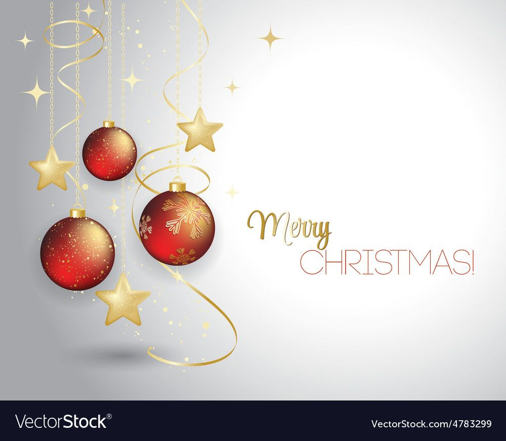 Merry Christmas card with red bauble . Vector illustration. Do ...
