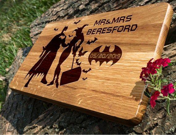 Batmen and Harley wedding gift / Cutting Board Batmen wedding / superhero gift #superherogifts